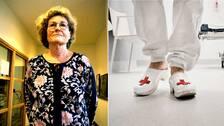 Kvinna, sjuksköterskas fötter.
