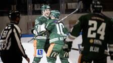 Färjestads Michael Lindqvist och Marcus Nilsson jublar efter 2-0 under torsdagens ishockeymatch i SHL mellan Färjestad BK och Rögle BK i Löfbergs Arena.