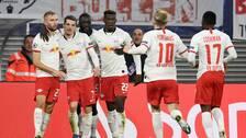 Leipzig jublar efter Marcel Sabitzers 2-1-mål.