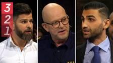 Foton på tre debattörer: polisen Hanif Azizi, polischef Erik Nord samt advokaten Abraham Zeito.