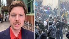 Proteströrelsen är brokig och saknar ett tydligt ledarskap gör det också svårt för regeringarna att hitta en tydlig förhandlingspartner. Bilden till höger visar sammandrabbningar i Bogota, Colombia.