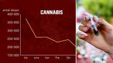 Två bilder. Först en graf som visar en uppskattning över hur användningen av cannabis skiljer sig mellan veckodagarna, samt en bild på en joint med cannabis.