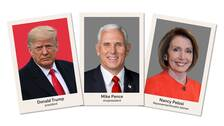 Donald, Trump, Mike Pence och Nancy Pelosi