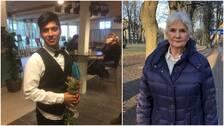 bild på en ung finklädd man som håller en blombukett, samt bild på äldre kvinna utomhus i Gävle