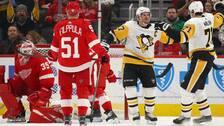 Segerjubel efter att storstjärnorna Sidney Crosby och Jevgenij Malkin samarbetat till avgörande 2-1 i förlängningen mot Detroit.