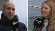 Två personer intervjuas om läkare i mobilen