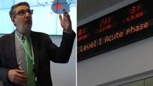 Sergio Brusin, expert på ECDC. Tavla som visar att vi befinner oss på nivå 1 – Acute Phase.