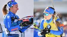De italienska storstjärnorna Dorothea Wierer (t.h) och Lisa Vittozzi (t.v)