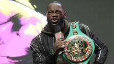 Amerikanske tungviktsmästaren Deontay Wilder med sitt WBC-bälte som han försvarat tio gånger över fem år.