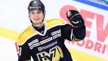 HV71:s Lias Andersson jublar efter sitt 2-1-mål under lördagens ishockeymatch i SHL mellan HV71 och Malmö Redhawks i Kinnarps Arena.