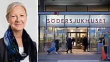 Carina Lundberg Uudelepp och Södersjukhusets entré