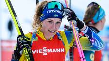 Hanna Öberg välkomnar Stina Nilsson till skidskyttefamiljen.