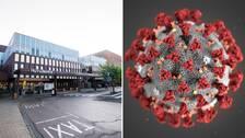 Blekingesjukhusets entré i Karlskrona och en modell av coronaviruset