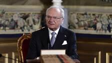 Kung Carl Gustaf under en extra informationskonselj med regeringen den 18:e mars.