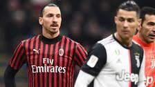 Zlatan Ibrahimovic under en cupmatch i februari. I förgrunden: Cristiano Ronaldo och Gigi Buffon.