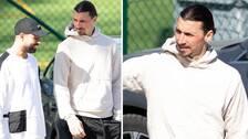 Zlatan Ibrahimovic tränade med Hammarby i dag.