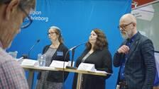 Signar Mäkitalo, Marianne Undvall, Ulrika Carlsson och Magnus Höijer, vid presskonferens om coronaläget.