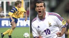 Tomas Brolin under EM1992 och Zinedine Zidane under EM 2000.