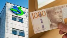 Region Örebros logga på sjukhus samt en bild på en tusenlapp.
