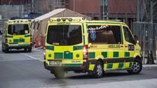 Ambulanser utanför Capio S:t Görans Sjukhus i Stockholm