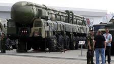 En rysk Topol kärnvapenrobot visas på militärmässa i Moskva. Arkivbild.