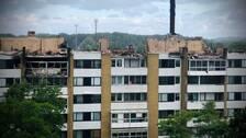 Det översta våningsplanet i lägenhetshuset blev totalförstört av branden.
