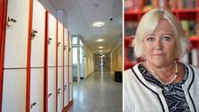 Till vänster, en tom skolkorridor, till höger porträttbild på Barnombudsmannen Elisabeth Dahlin.