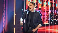 Danny Saucedo, sångare och artist, sjunger på QX-galan i Stockholm 2017.