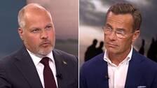 Morgan Johansson ( S) och Ulf Kristersson ( M) i debatt om migrationspolitiken i SVT:s Aktuellt