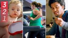 Tre bilder: en bäbis, en kvinna som springer på löpband och en man som äter