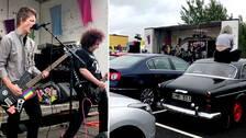 Starta klippet för att se bandet Headons ösa på mitt på parkeringsplatsen i Halmstad – inför ett uppställ med glada bilister.
