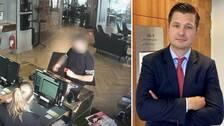 (tv) 27-åringen på övervakningsbild i Göteborg (th) advokat Jesper Arvenberg.
