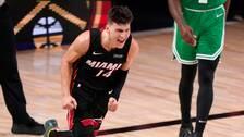 Miami Heats Tyler Herro jublar i NBA-semin mot Boston Celtics.