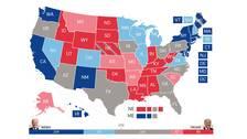 Karta som visar opinionsläget i USA