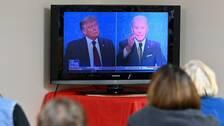 President Donald Trump och Demokraternas utmanare Joe Biden i den första tv-sända debatten.