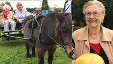 Till vänster: En äldre dam håller i tyglarna till en brun häst. Till höger: En glad äldre dam som tittar in i kameran samtidigt som hon sitter på en karusell.