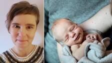 Bilden visar barnmorskan Sophia Hoy samt ett nyfött barn.