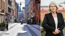 Drottninggatan som är öde och ett porträttfoto på Maria Rotzén ÖStlund.