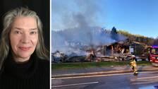 Bilden är ett collage i två delar med lodrät avskiljare. Vänster del: Porträttfoto på Annette Santner, representant för Postnord. Höger del: En brandman står framför en nedbrunnen byggnad.