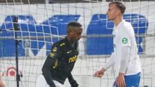 AIK:s Henok Goitom jublar efter sitt 0-1 under måndagens fotbollsmatch i allsvenskan mellan IFK Norrköping och AIK på Östgötaporten.