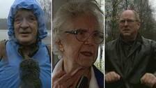 Tre bilder på Arvikabor i intervjusituationer i samband med översvämningen.