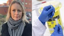 Två bilder. Porträttbild på Anna Skogstam samt närbild på ett coronatest där person i blå plasthandskar håller i ett covid-19-test.