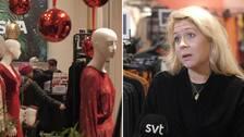 Julskyltning på Indiska. Till höger Karin Lindahl, vd på Indiska.