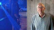 Blåljus i en dörröppning, samt offentlighet- och sekretessexperten Nils Funcke.