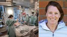 Sjuksköterskor hjälper en coronasjuk patient och Ann Ruddman, docent vid Högskolan Dalarna som ska leda studien.