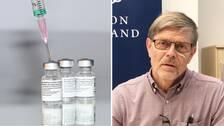 Vaccinspruta samt en bild på Signar Mäkitalo i sin sedvanliga rutiga skjorta framför en blå bakgrund.