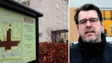 Till vänster en bild på äldreboendet Boken i Falkenberg, till höger en bild på en man.