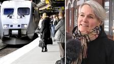 Till vänster en bild på en perron där folk väntar på att gå på ett tåg, till höger en professor på en tågstation.
