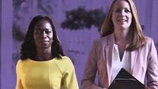 Bilden visar Annie Lööf, Centerpartiets ledare, samt en bild på henne tillsammans med Liberalernas Nyamko Sabuni.