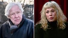 Två foton på Sven respektive Stina Wollter